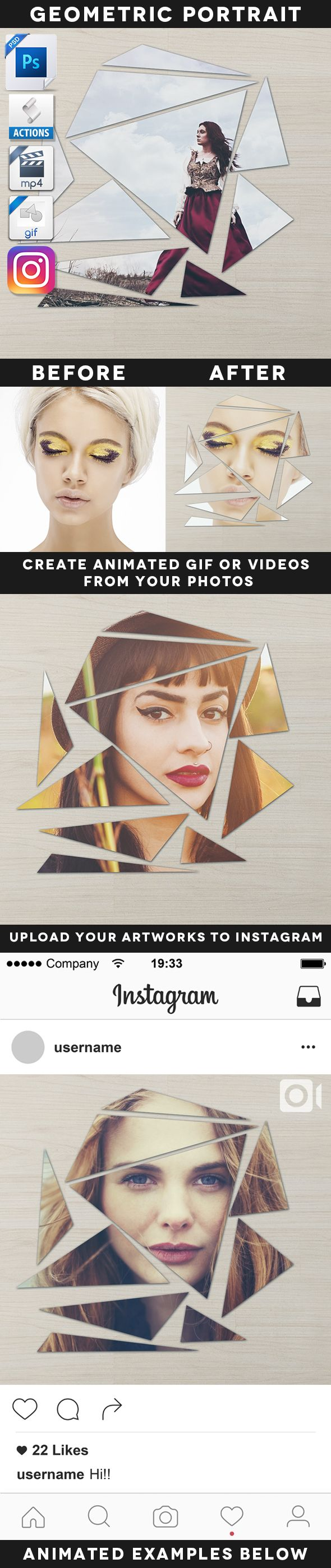 Animated Broken Geometric Portrait Action - Photo Effects Actions