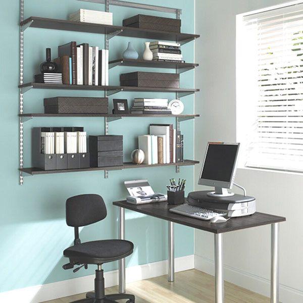 The Container Store  Driftwood & Platinum elfa Office Shelving & Desk-----separate desk