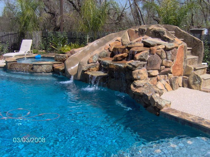 Beach Entry Pools Design Rock Slidewaterfall Spa And Tanning Bench Poolfyi