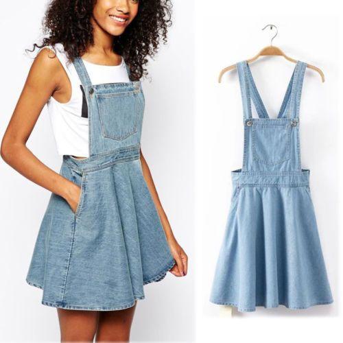 Women-Vintage-Washed-Casual-Blue-Denim-Overall-Jumper-Dress-Skater-Jean-Skirt