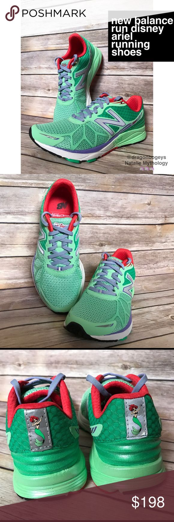 New Balance Run Disney Ariel Running Shoes Super limited edition Little Mermaid sneakers from the Walt Disney World princess marathon weekend. Colors mimic Ariel with green scale like stitching, purple trim and laces, and red interior. The outsole cushioning has a glittery opalescent glow. You can even see Ariel's autograph on the inside of the tongue! Brand new without box. Tried on in the house, never worn outside. They just didn't fit my foot :( Wear these new sneakers and practice…