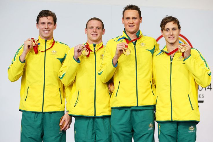 (L-R) Gold medallists Thomas Fraser-Holmes, Ned McKendry, David McKeon and Cameron McEvoy of Australia