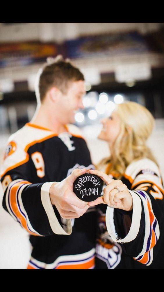 Hockey Engagement photos! #hockeyweddingtheme #hockeyweddingideas #hockeyweddingphotos #hockeyweddingevents #hockeyweddingdecorations #hockeyweddingcenterpieces #hockeyweddingcake #hockeywedding favors #icehockeywedding #hockeyweddingdress #hockeyweddingi