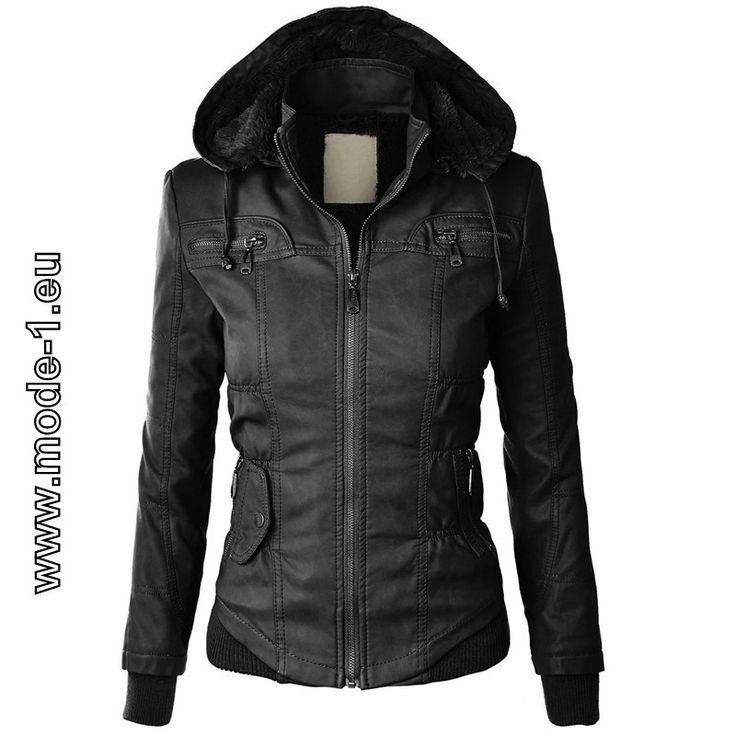 Damen Zipper Jacke mit Fleece Kaputze in Schwarz