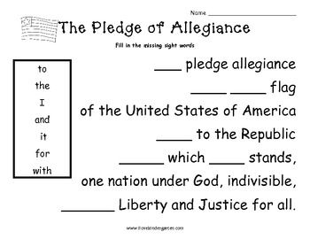 The Pledge of Allegiance....With Sight Words for kindergarten