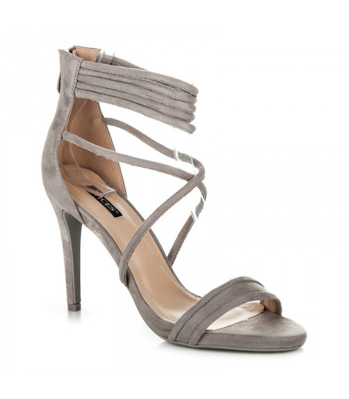 Šedé sandále na podpätku 5070-5G
