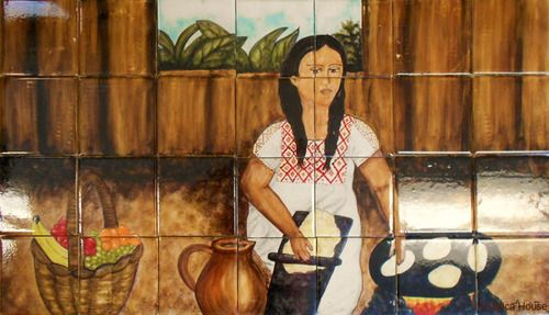 "A rustic tile mural looks pretty on a kitchen wall backsplash, bathroom wall or table-top. Traditional Mexican cook mural sku 19049 is available in any dimensions. rustic tiles can be also installed in swimming pools, fountains and outside of the buildings. Tile Mural ""Traditional Mexican cook"" by Rustica House. #myRustica"