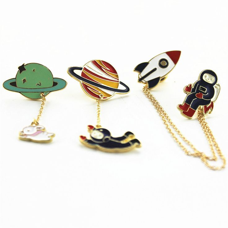 Fashion enamel Three style astronauts, earth, rabbit, girl drip animal brooches women badges clothes pins