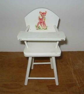 Vintage 1950s Hallu0027s Lifetime Toys Wooden Doll High Chair White Fawn Decal