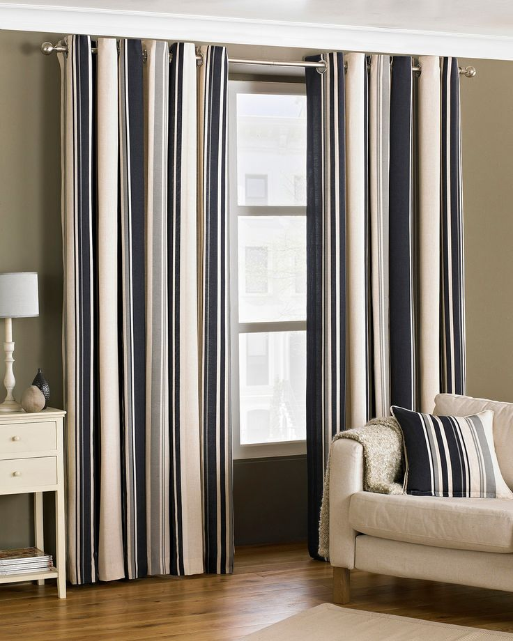 A wonderful and well coordinated stripe design gives the Broadway lined black eyelet curtains instant appeal.