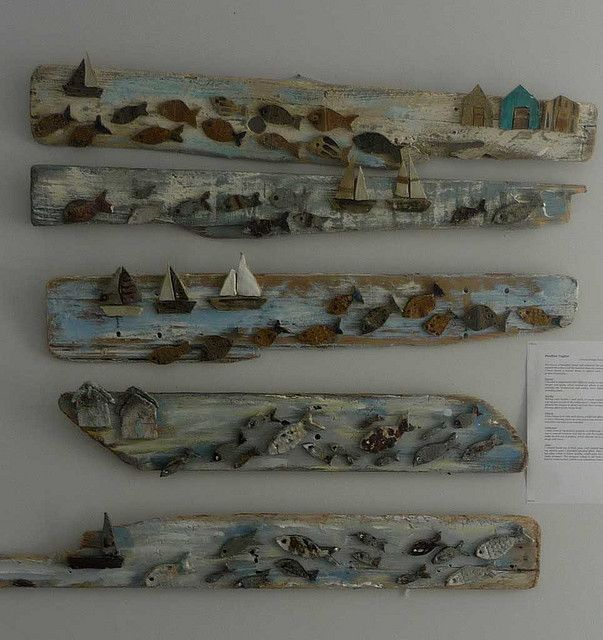 photo of fish and boats on driftwood!