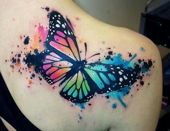 Rainbow splatter paint butterfly tattoo!