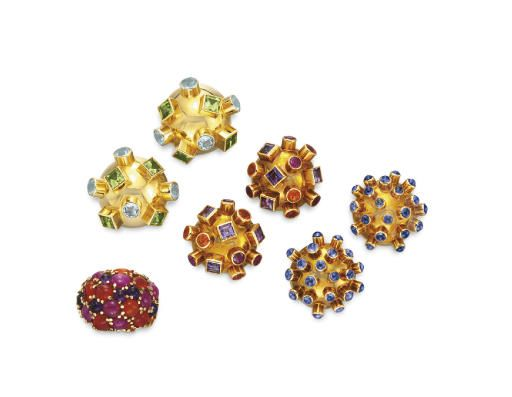 A GROUP OF MULTI-GEM JEWELRY, BY SOLANGE AZAGURY-PARTRIDGE  Comprising three pairs of ear clips of gold bombé form, the first bezel-set with square-cut peridots and circular-cut aquamarines; the second, bezel-set with square-cut amethysts and circular-cut fire opals; the third, bezel-set with cabochon sapphires; and a bombé ring set with a panel of circular and oval cabochon fire opals, amethysts and rubies, all mounted in 18k gol