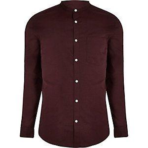 Burgundy grandad collar Oxford shirt
