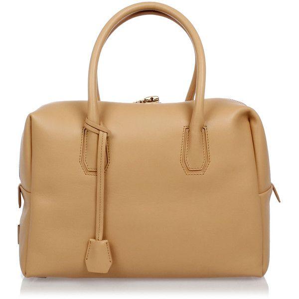 MCM Leather Bowling Bag (€725) ❤ liked on Polyvore featuring bags, handbags, beige, man shoulder bag, tote purses, bowling bags, leather shoulder bag and man leather shoulder bag
