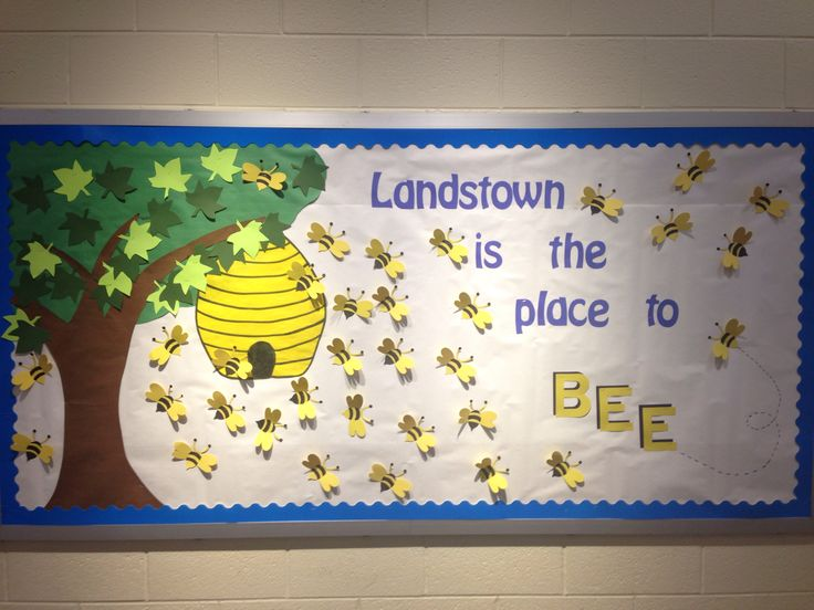 "Our school is the place to ""BEE""  Honey bee, hive, bumble bees bulletin board."