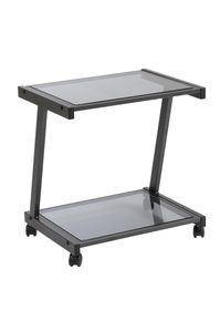 Euro Style L Printer Cart in Graphite Black/Smoked Glass