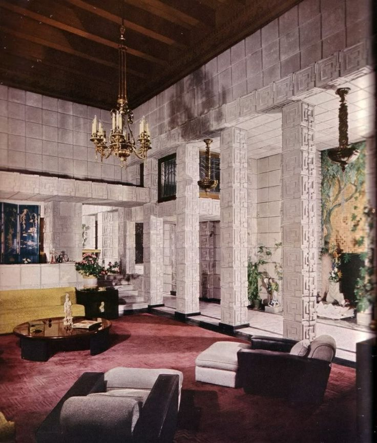 Living Room Interior Ennis House By Frank Lloyd Wright Textile Block Period
