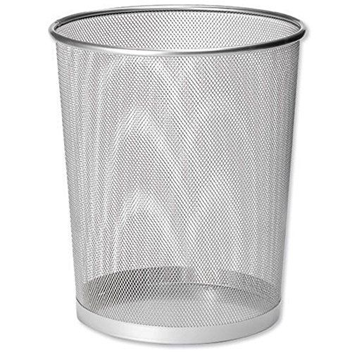 UOOU Mesh Round Wastebasket Recycling Bin, 18 Quart(4.5 Gallon )Capacity, Silver  Mesh wastebasket offers a sleek industrial look and simple everyday convenience  Made of durable steel wire mesh; reinforced with solid metal base and solid edging along bottom and top rim  Large, round opening and tapered shape make sure trash goes into the can, not around it; wire mesh keeps the wastebasket well-ventilated, preventing the buildup of moisture and smells  Gently flared, cylinder shape wit...