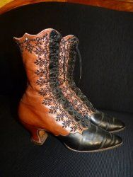 Elegant Evening Lace up Boots, from Vienna, ca. 1895 antique shoes, victorian shoes, shoes 1900, shoes 1895, antique dress, 1900