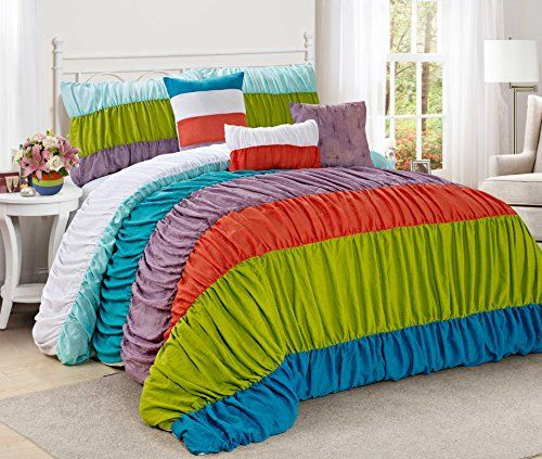 7 Piece CELENE colorful stripe ruffled Comforter Set Queen King Calking Size Queen Rainbow ** Want additional info? Click on the image.
