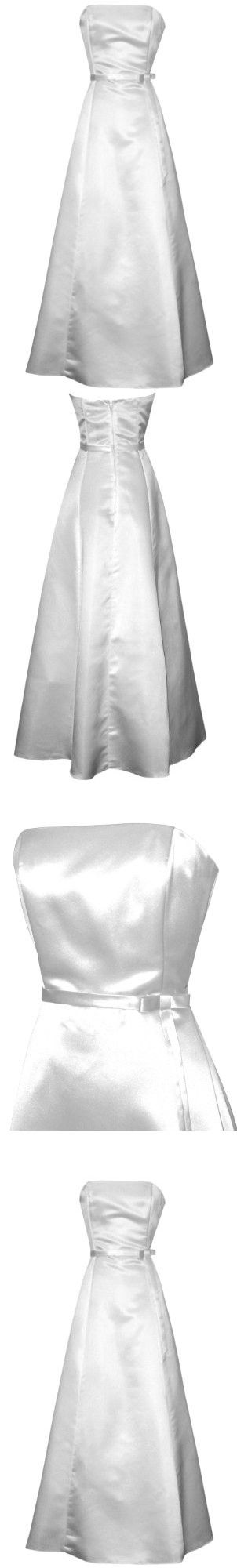 50's Strapless Satin Long Gown Bridesmaid Prom Dress Holiday Formal Junior Plus Size, 3X, White