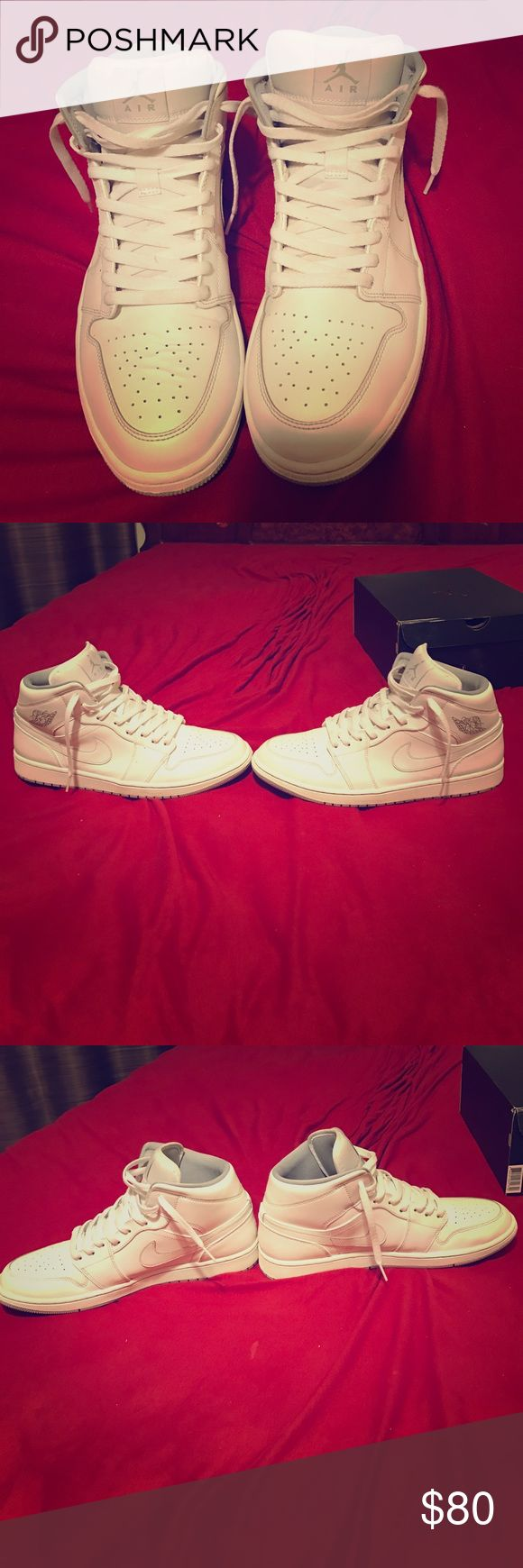 Jordan One's white and wolf grey Almost perfect condition little creases (like 5) in one of the shoes other then that all great no bad smells lol Jordan Shoes Sneakers