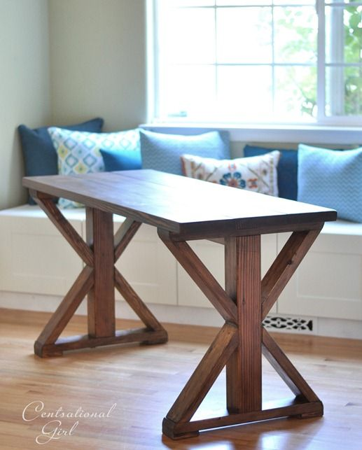 diy table...We need a table that can be used for study and projects. I think this would work with a little modification to height and side of top. =)