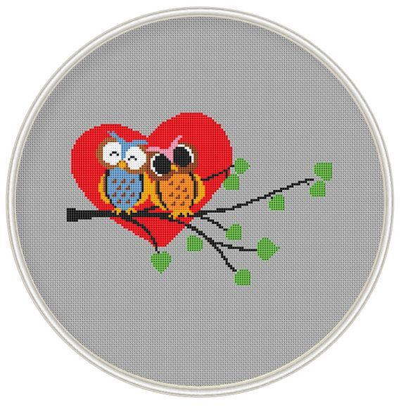 Cross stitch pattern, Love owl, Cross-Stitch PDF, Instant Download, Free shipping, valentine's day pattern