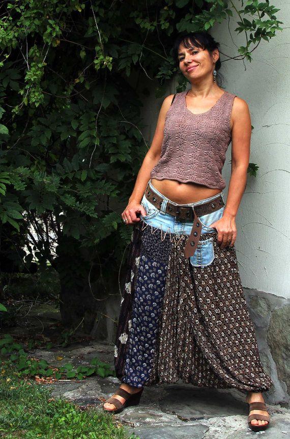 Yoga Harem Hosen hergestellt aus Jeans (wahre Religion!) und Stücke verwendet Kleider, indische Salvar Kamez und neuen Stoff. Ach, wie angenehm zu