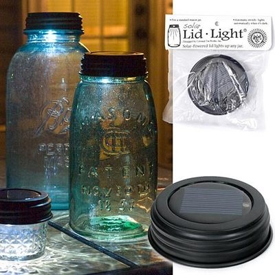 primitive country mason jar solar lid lights rustic brown indoor outd