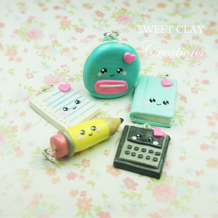 Back to School Kawaii Charm Polymer Clay Miniature Book Pencil Backpack Notebook Calculator Handmade by Sweet Clay Creations