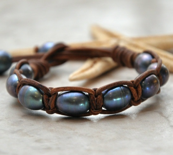 Purty!  Pearls and Woven Leather Bracelet by nicholaslandon on Etsy, $40.00