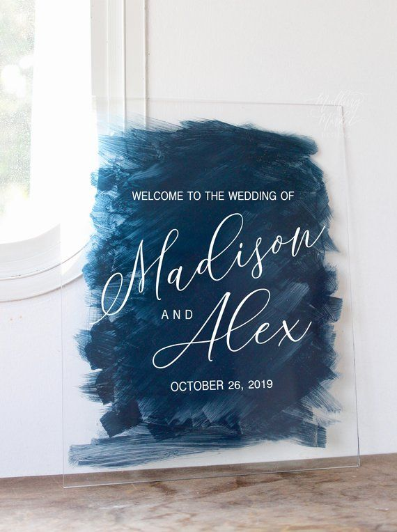 Custom Wedding Painted Back Acrylic Sign, Vertical Acrylic Wedding Sign, Wedding Welcome Sign, Calligraphy Sign, Modern Wedding Decor