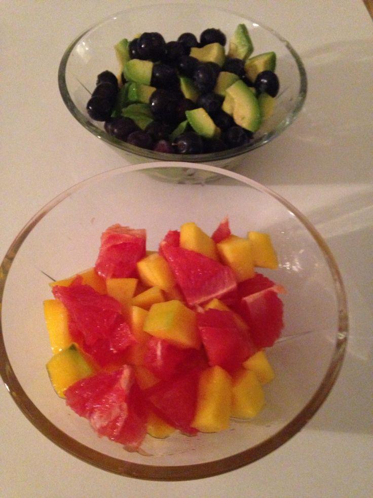 Blueberries,avocado,mango & grapefruit