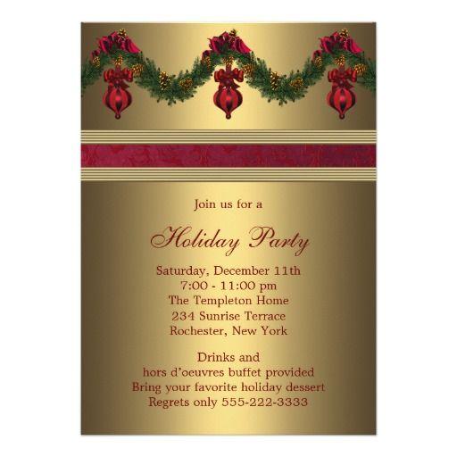Red Gold Christmas Holiday Party Custom Invitations. Personalisierte  EinladungenEinladungskartenEinladungsentwurfWeihnachtsfeiernWeihnachtsferienSchöne  ...