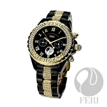 FERI - The President - Mens Watch   - GWT exclusive 19K can be ordered in Yellow, White or Rose gold - 349 premium grade diamonds - Shielded by sapphire crystal to preserve its lasting beauty - Bears its name (President) on its bezel - Surrounded by professionally micro-set, premium grade diamonds - Diamond-rich exclusive gold clasp - 19K mark embedded right into its original first generation mold - Crown is also surrounded with meticulously set premium quality diamond