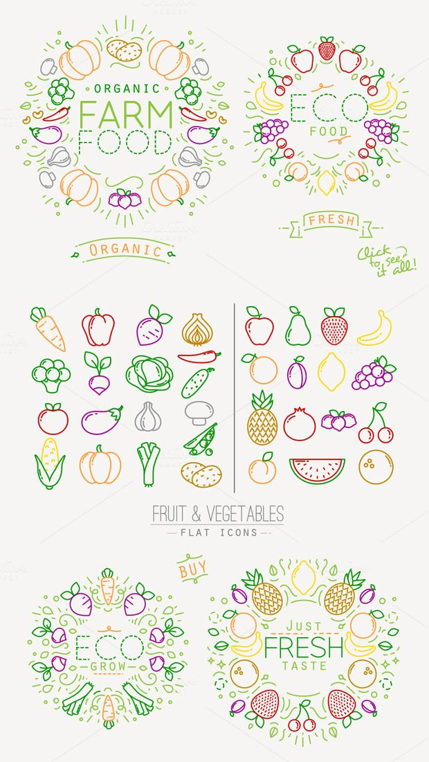 Flat Fruits & Vegetables Icons by Anna on @creativemarket