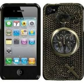 MYBAT Butterfly Pocket Watch Crystal 3D Diamante Protector Cover with Package Compatible with Apple iPhone 4/4S