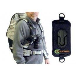 COTTON CARRIER STRAPSHOT SISTEMA DE SUJECION    Apto para transportar cámaras de fotos, prismáticos ó cámaras de vídeo compactas. Con solapas de velcro que se ajustan alrededor de las correas de la mochila ó bolsa