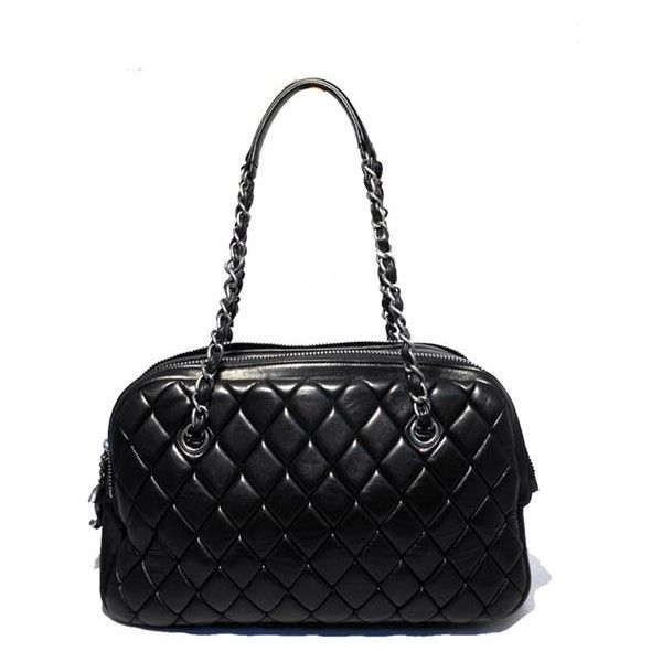 Chanel Black Quilted Medium Shopper Tote Shoulder Bag ($3,835) ❤ liked on Polyvore featuring bags, handbags, tote bags, chanel shoulder bag, quilted tote bags, shopping bag, chanel shopper and chanel handbags