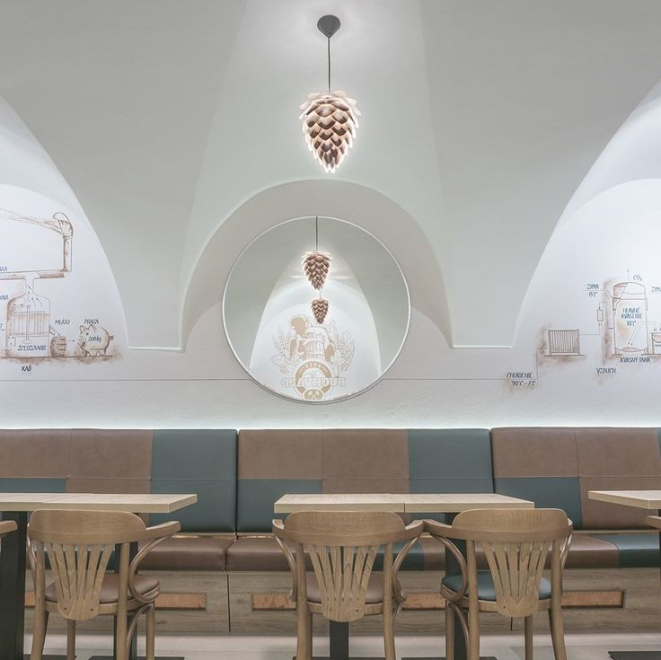 The Conia lamp in copper appears in the cool interior of #buchvaldhaus pub in Slovakia.