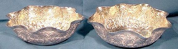 Pair LUCKNOW Silver Sweetmeat Bonbon Bowls 1890 Ornate Solid