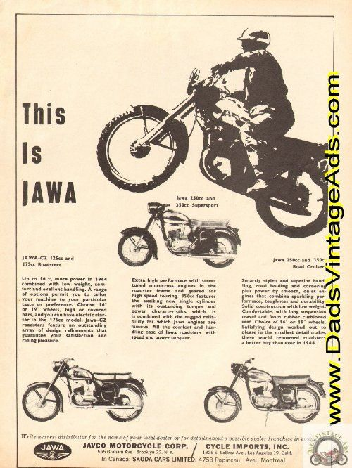 Jawa-CZ 125cc and 175cc Roadsters; Jawa 250cc and 350cc Supersport; Jawa 250 and 350cc Road Cruisers   JAVCO Motorcycle Corp.   Original, Vintage Magazine Ad  Size: Approx. 8 x 10 1/2 (20 cm x 27 cm).  Condition: Good   e64ha14