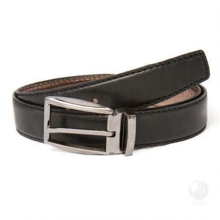 FERI - Pasquale Belt - Black - Mens genuine leather belt - Classic belt design with top stitching - Hand made and hand dyed - Buckle is plated with pewter colour - Buckle is custom engraved with FERI logos  Please refer to size chart for your size.  www.gwtcorp.com/ghem or email fashionforghem.com for big discount