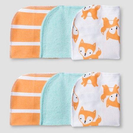 $4.99 Baby 6 Pack Fox Print Wash Cloth Set Soft Aqua - Cat & Jack Baby™ : Target