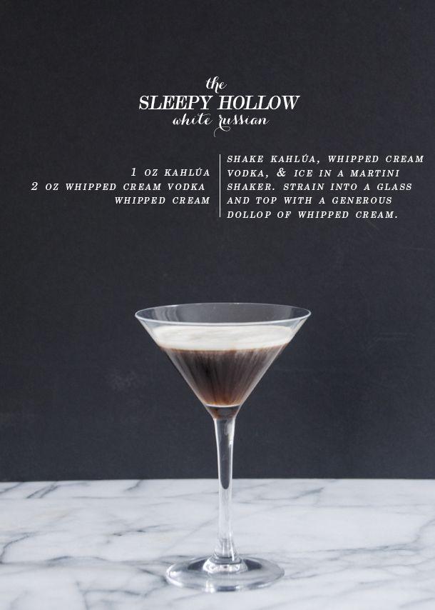 Sleepy Hollow White Russian - Kahlúa, Whipped Cream Vodka, Whipped Cream.