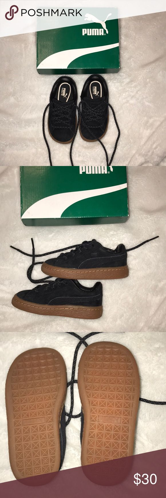 Authentic Puma suede upper rubber sole worn once Puma basket classic black suede with rubber sole in great condition Puma Shoes Sneakers