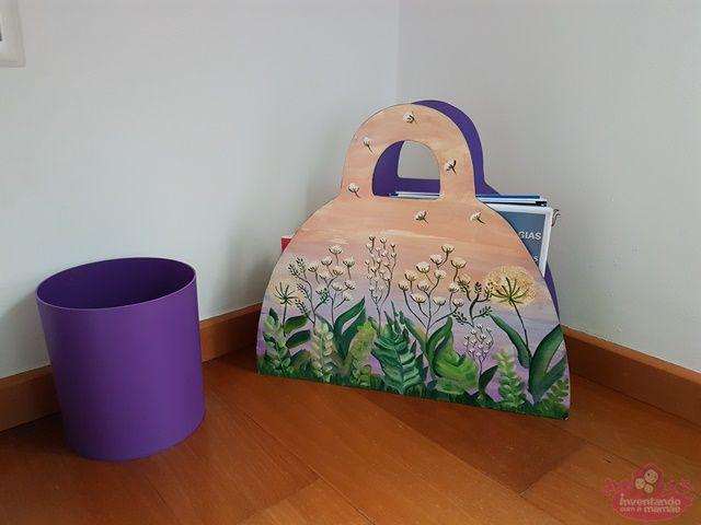 Revisteiros pintados para organizar o quarto de meninas