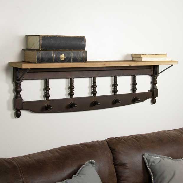Spindle Wall Hook Shelf Wallshelf Hooks Wood Wall Shelf Wall Shelves Wooden Wall Shelves Wood wall shelf with hooks